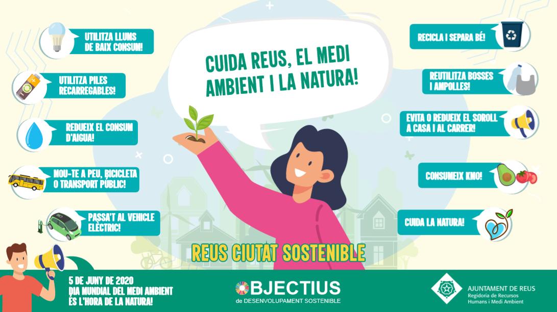 Coincidint amb el Dia Mundial del Medi Ambient, que se celebra aquest divendres, 5 de juny, l'Ajuntament de Reus, a través la regidoria de...