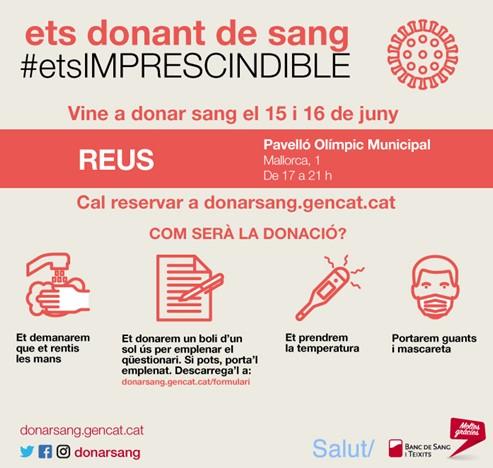 L'Ajuntament de Reus i el Banc de Sang i de Teixits coordinen una campanya especial de donació de sang al Pavelló Olímpic Municipal que ...