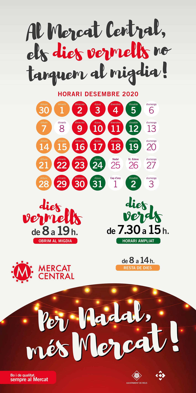 A partir d'aquest dimecres, dia 2 de desembre, el Mercat Central obrirà dimecres, dijous i divendres de les 8:00 h a les 19:00 h, sense ...