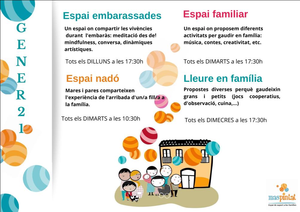 El Mas Pintat, l'espai de suport a les famílies que depèn de la Regidoria de Salut i Ciutadania,continua el mes de gener amb la program...