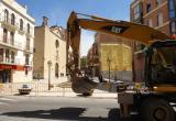 Foto de les obres a la plaça de la Sang