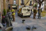 Imatge dels treballs que es realitzen a la plaça de la Farinera