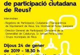 Imatge cartell acte presentació Reglament participació ciutadana Reus 2019