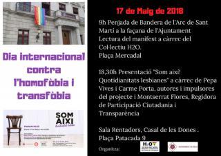 Cartell del Dia Internacional contra l'Homofòbia i la Transfòbia a Reus 2018