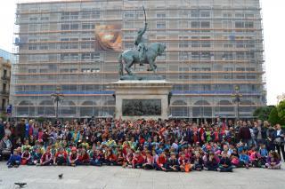 Foto de grup dels participants a la 3ª Trobada Escolar d'Escacs de Reus