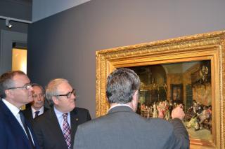 Un moment de la visita de premsa realitzada aquest matí a la mostra