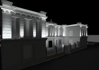 Imatge virtual de la nova il·luminació de la façana de l'Escola Pompeu Fabra