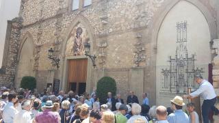 Acte de presentació del nou mural de l'església de Sant Joan, amb el projecte de Pere Caselles