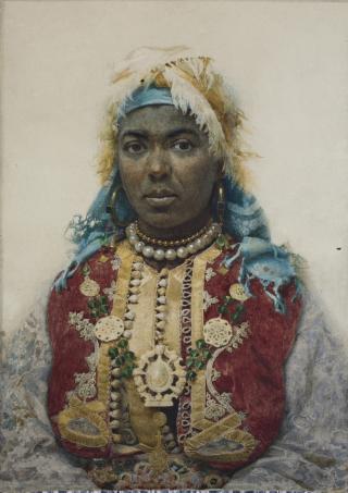 """""""Núvia"""", aquarel·la de J. Tapiró, MR 194. Arxiu fotogràfic del Museu de Reus. Dimensions, amb marc: 90 x 71,6 x 4 cm."""