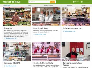Captura de pantalla del web de venda online dels Mercats de Reus