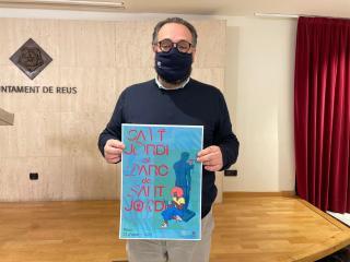Daniel Recasens amb el cartell de Sant Jordi 2021 a Reus