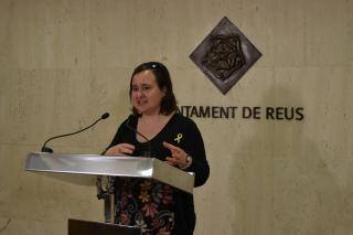 Imatge de Montserrat Flores durant la presentació de la Festa de la Gent Gran de Reus 2018