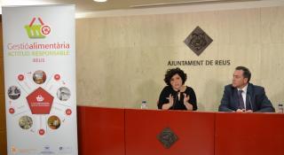 Imatge de la presentació de l'acord amb Fundació Port Aventura per al programa de gestió alimentària de Reus