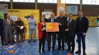 Foto de l'acte de traspàs de la Ciutat del Bàsquet Català aquest diumenge a Calella