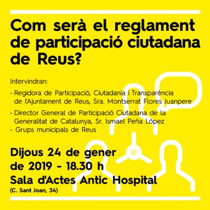 Accedeix a Imatge cartell acte presentació Reglament participació ciutadana Reus 2019
