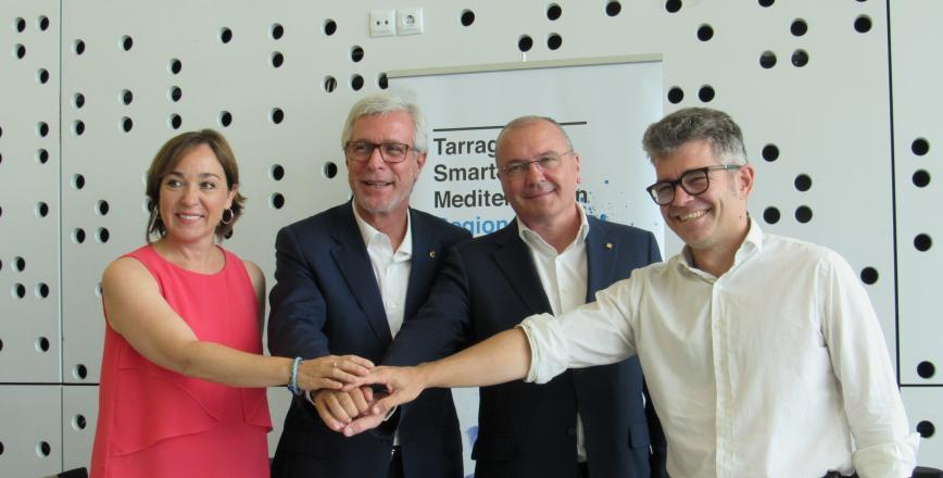 Els alcaldes de Reus i Tarragona, amb els regidors Arza i Floría