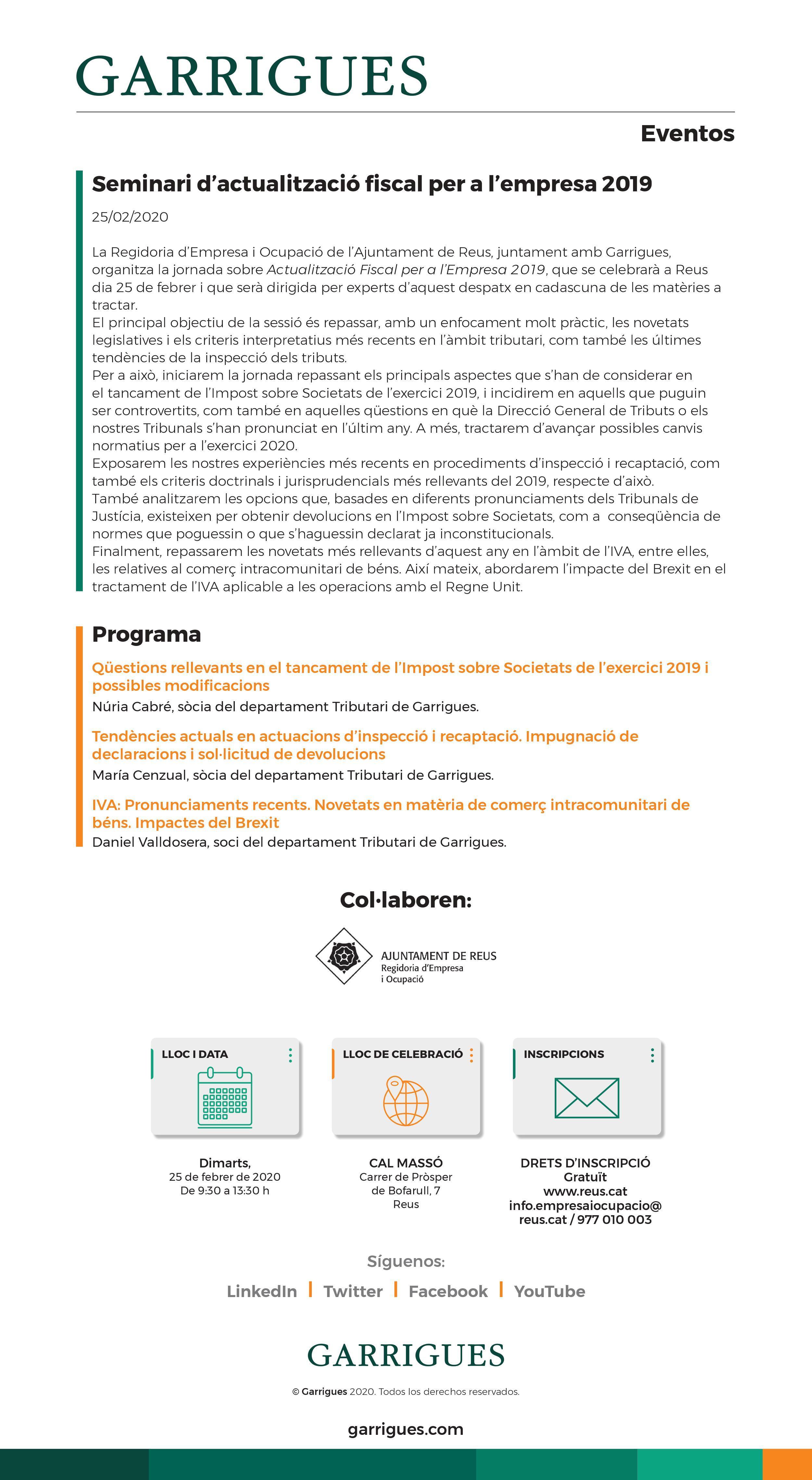 Seminari d'actualització fiscal per a l'empresa 2019E