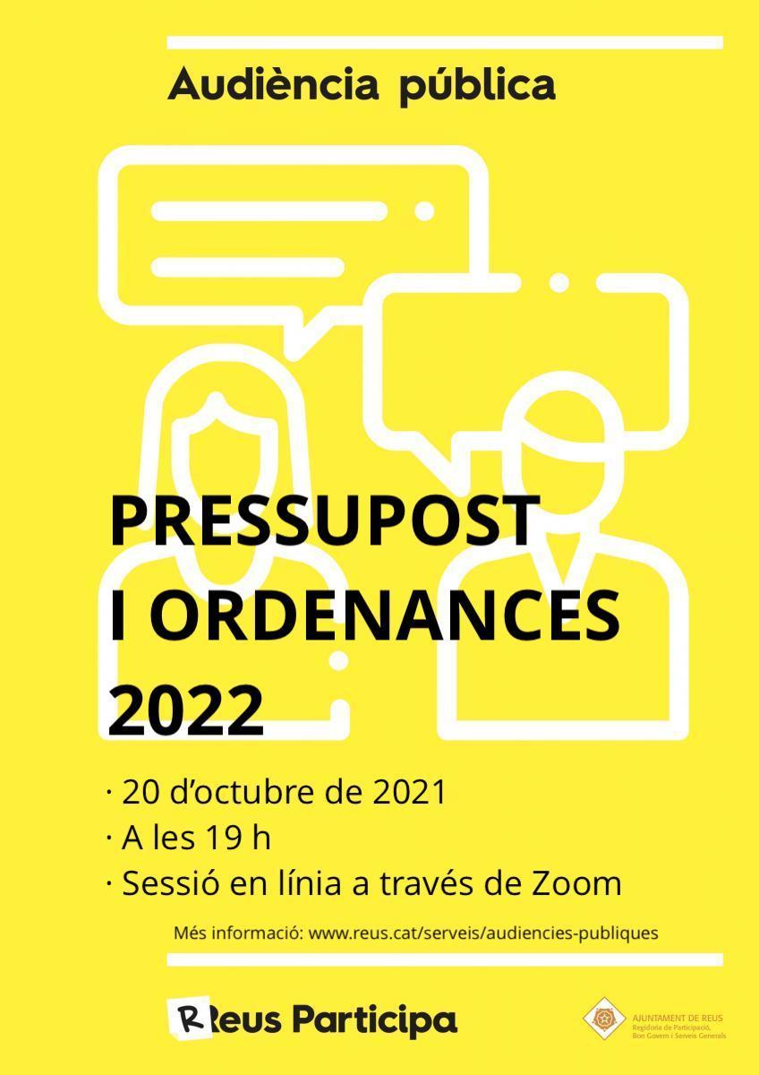 Audiència pública: pressupostos i ordenances 2022
