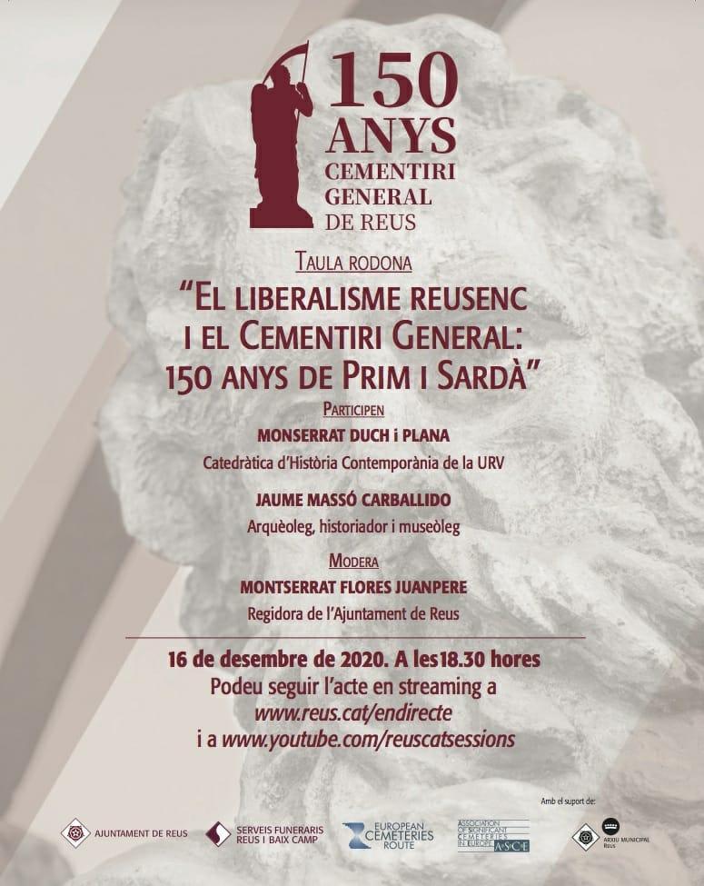 En streaming: El liberalisme reusenc i el Cementiri General. 150 anys de Prim i Sardà