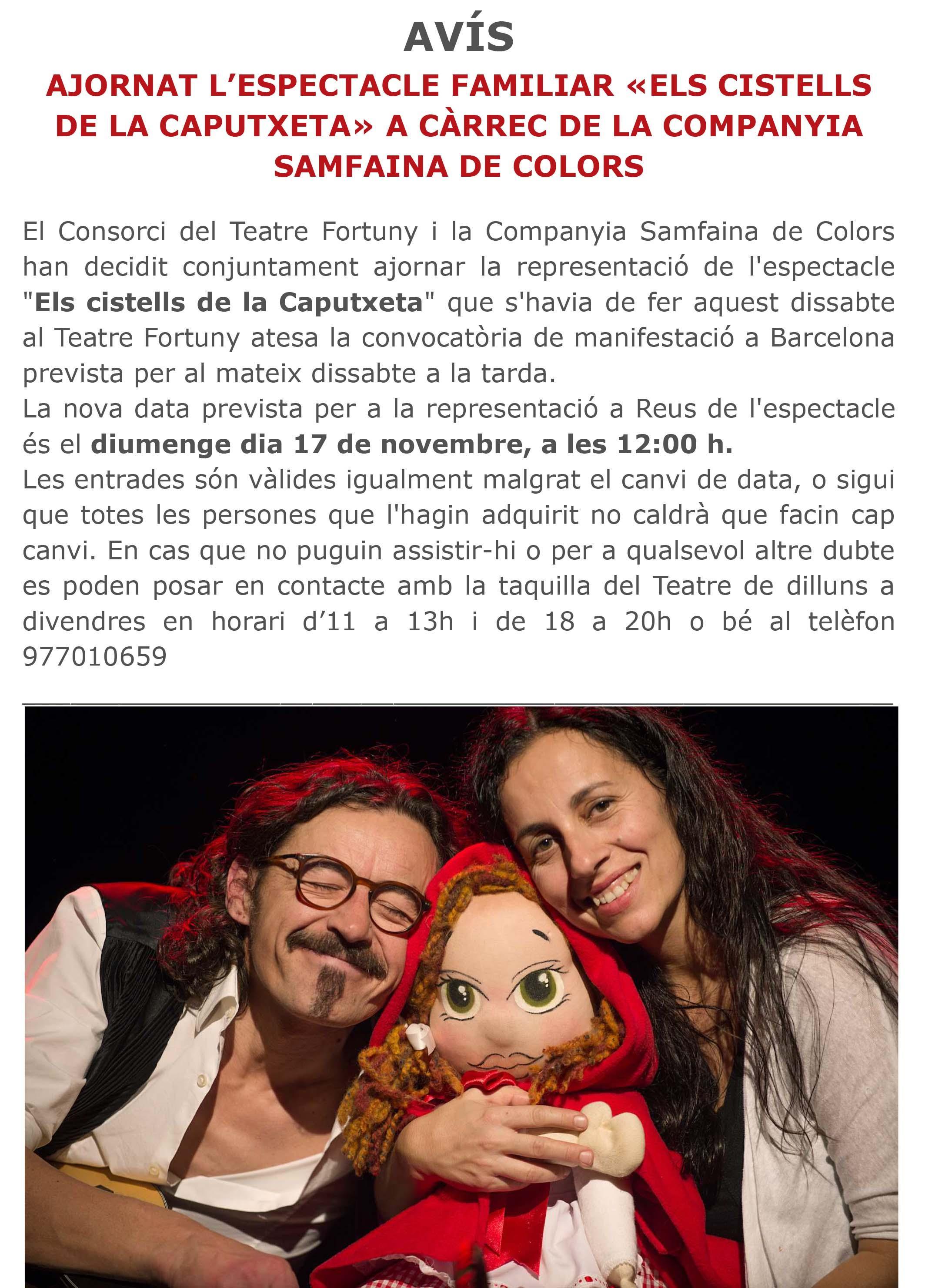Samfaina de Colors AJORNAT FINS EL DIUMENGE 17 DE NOVEMBRE A LES 12H