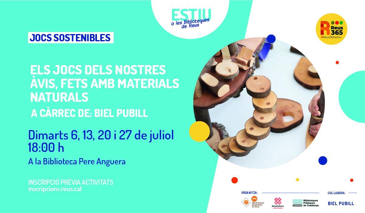 Biblioteca Pere Anguera: Els jocs dels nostres avis, fets amb materials naturals
