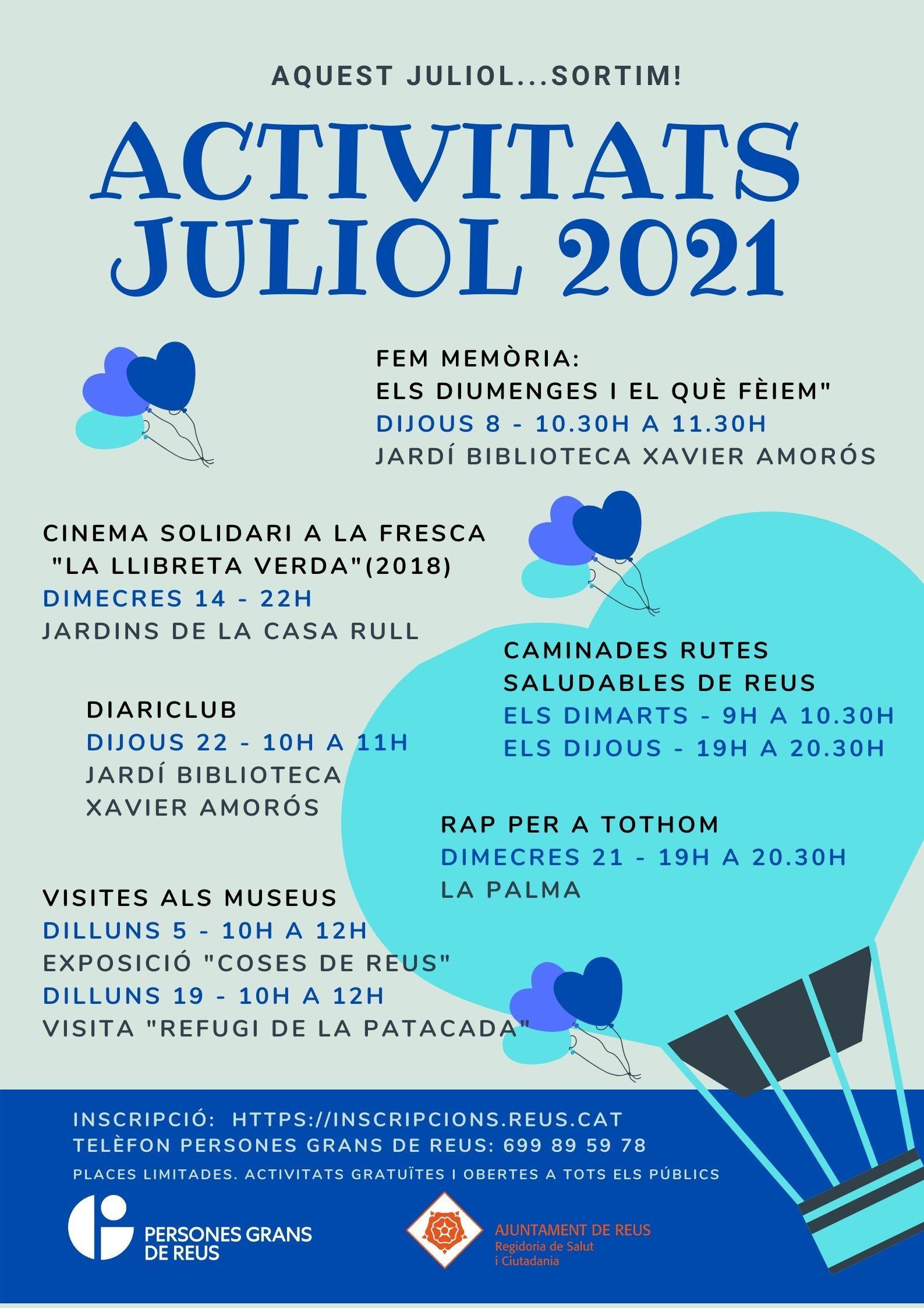 ACTIVITATS JULIOL 2021 PERSONES GRANS DE REUS