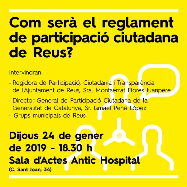 Com serà el reglament de participació ciutadana de Reus?