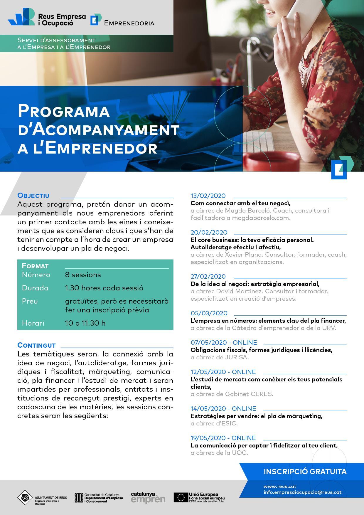 Programa d'acompanyament a l'emprenedor - continuació online