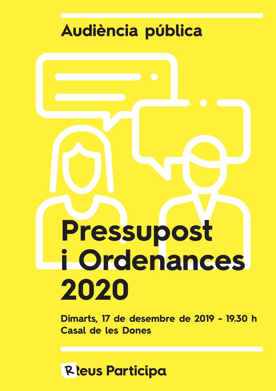 Audiència Pública sobre el pressupost i les ordenances 2020
