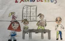 Dibuixos dels nens i nenes  que han vingut a visitar l'Arxiu