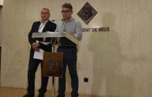 L'alcalde Carles Pellicer i el regidor Marc Arza durant la roda de premsa