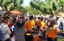 Imatge de la festa del desè aniversari de Mas Pintat realitzada aquest dimarts a la plaça Abat Oliba