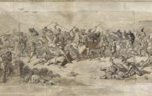 """""""Estudi per al quadre La batalla de Wad-Ras"""", dibuix de M Fortuny. MR 14. Arxiu fotogràfic del Museu de Reus. Dimensions: 38,5 x 139 cm."""