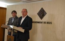 Alcalde de Reus i Òscar Subirats en la roda de premsa del Coronavirus