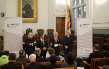 Imatge de la recepció a l'Ajuntament de Reus al comitè avaluador de la candidatura a Ciutat Europea de l'Esport 2019