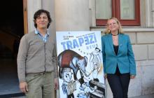 El director artístic de Trapezi, Leandro Mendoza (esquerra) i Montserrat Caelles han presentat el cartell de Trapezi 2018